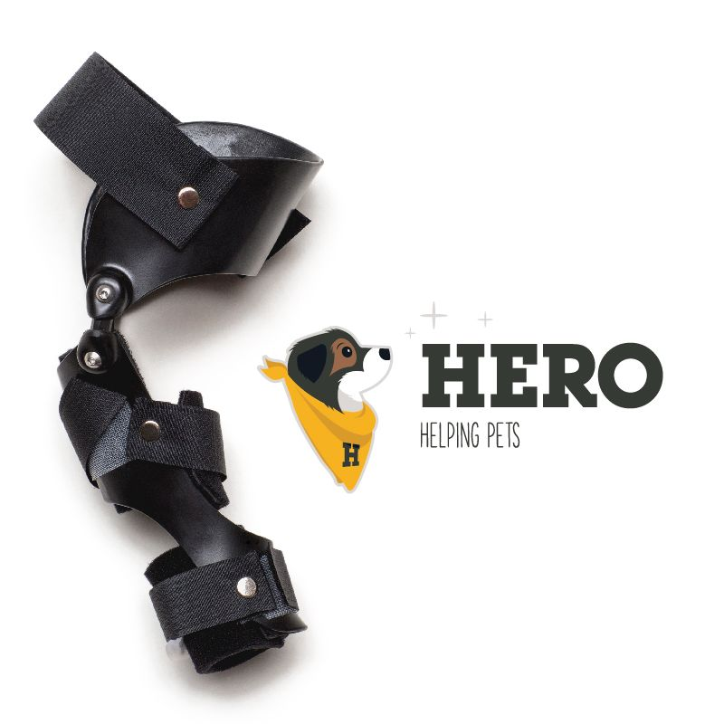 Dog Stifle Brace with Hero Helping Pets Logo